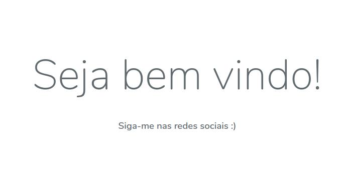Exibição da página inicial em português.